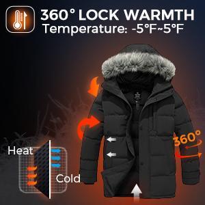 Wantdo Men's Down Jacket Winter Thicken Coat Warm Puffer Jacket Snow Coat with Fur Hood