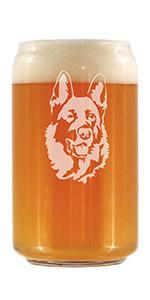 Adorable design of a happy German Shepherd face, engraved onto a beer can shaped pint glass