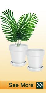 2pcs 8 inch white clay pots
