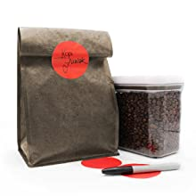 large red dot sticker on coffee bag with writing