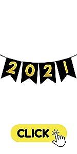 2021 Banner Black and Gold Graduation Decoration Banner