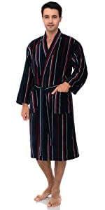 TowelSelections Mens Kimono Robe, Soft Cotton Luxury Bathrobe