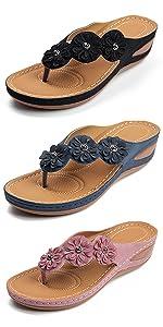 wedge sandals for women summer beach Flower Clip Toe sandals Lady Bohemia Platform Dress Shoes