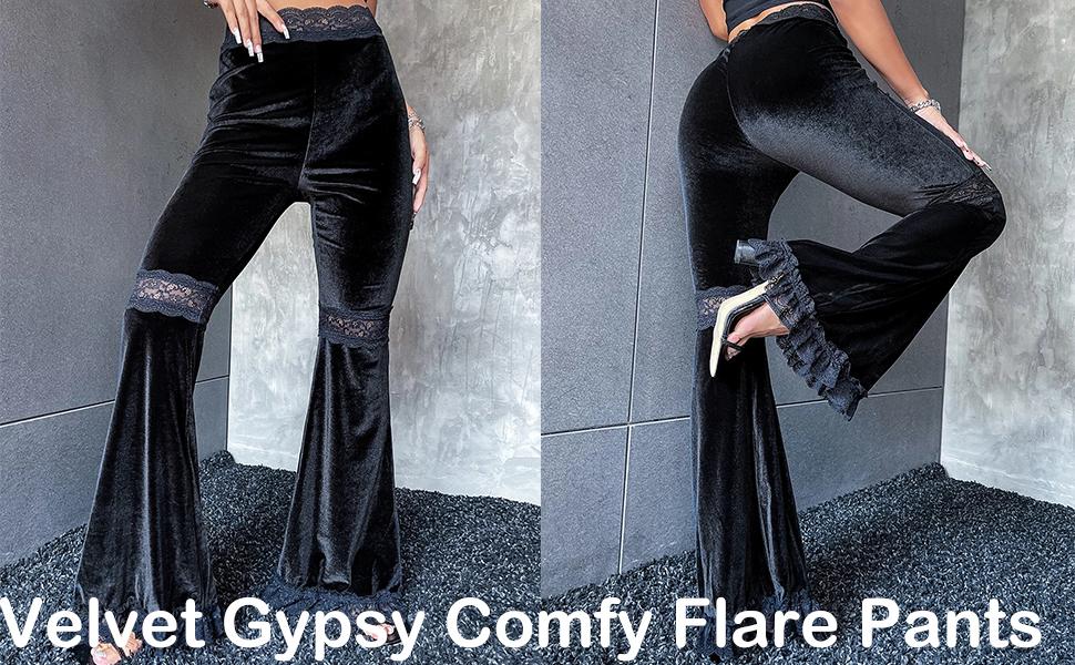 Women's High Waist Soft Velvet Gypsy Comfy Flare Pants Stretch 70s Bell Bottom Gothic Pants Black