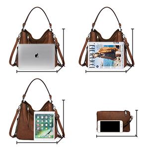 hobo bag braun shopper damen groß handtaschen set ledertasche