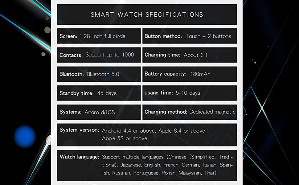 smart watch specifications