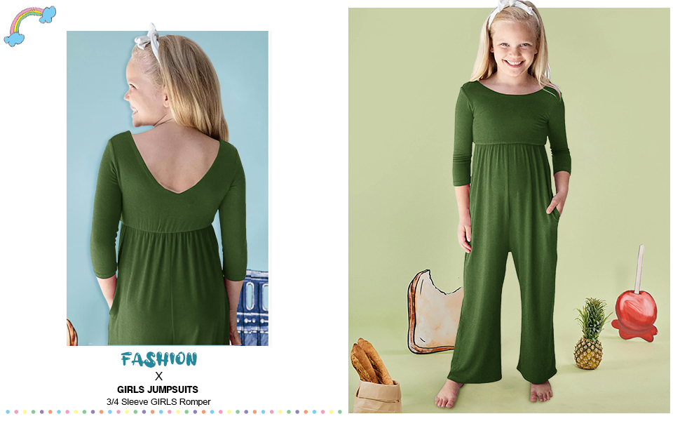 Girl Jumpsuits for Girls 3/4 Sleeve Romper Long Wide Leg Pants Jumpsuit with Side Pockets