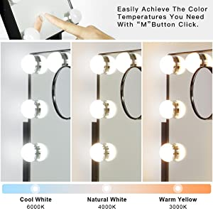 Lighted Vanity Mirror with 3 Color Light
