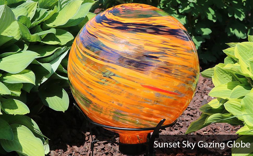 Sunset Sky Glass Outdoor Gazing Ball Globe
