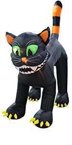 11 Foot Tall Huge Animated Inflatable Giant Black Cat Yard Blowup Decoration