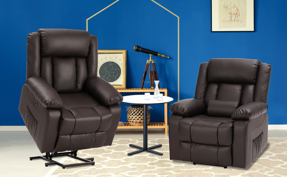 power lift recliner chair leather brown