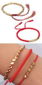 tibetan bracelet red string bracelet copper bead bracelet tibetan buddhist bracelet copper bracelet