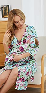green rose woman robe