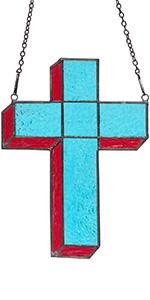 Cross Stained Glass Window Hanging