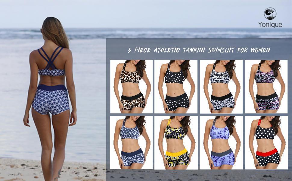 tankini bikini sports bra swim tank top shorts