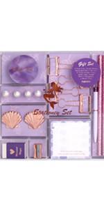 purple rose gold stationery set washi tape paper binder clips sticky notes pad stationery set