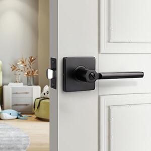 black door handle with lock