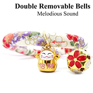 Cat Kimono Collar, Breakaway Cat Collar with Bell Japanese Style Adjustable Kitty Safety Collars