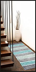 Mint and grey bath or hallway runner in a beautiful stairwell
