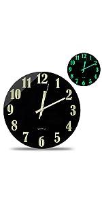 Modern Night Light Function Luminous Wall Clock