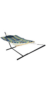 Sunnydaze Rope Hammock with 12-Foot Stand - Pad amp; Pillow - Lakeview
