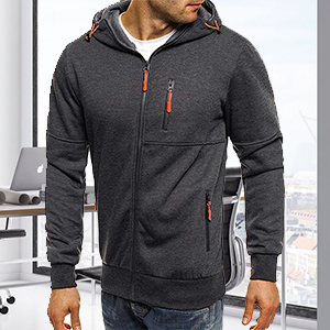 Men's fashion hoodie sweatshirts zip up jumper jacket