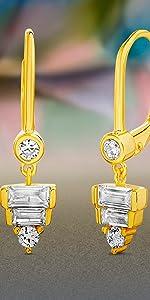 Cubic Zirconia CZ Baguette Bezel Set Leverback Lever Back Earrings Earring Dangle Drop Layering