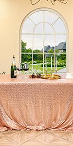 90*132 rose sequin tablecloth