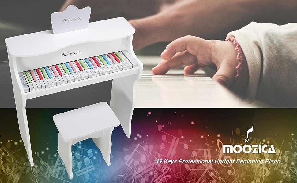 MOOZICA 49 Keys Upright Piano Learn-to-play Digital Piano