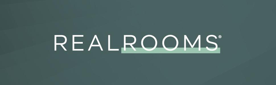 Dark green banner image with large RealRooms branded logo in the middle.