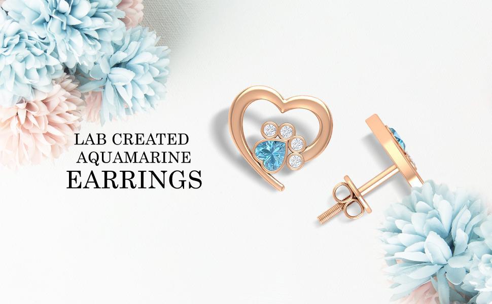 Lab Created Aquamarine Earrings
