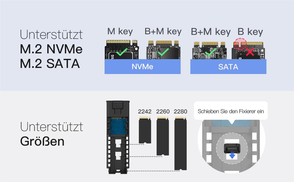 Unterstützt M.2 NVMe und SATA SSD