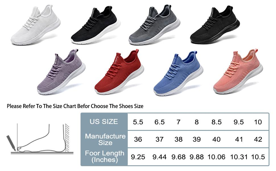 slip on tennis shoes for women size chart