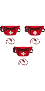 Lifeguard Fanny Pack with Whistle and Lanyard 3-Pack