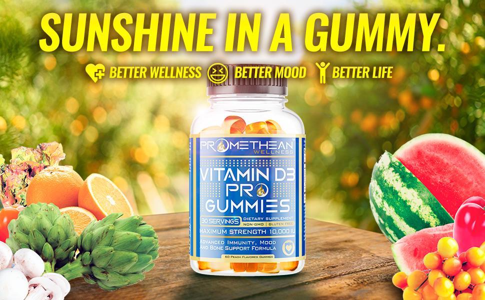Promethean Wellness, Vitamin D3 Pro Gummies,Vitamin d chewable, dual action, vitamin d for kids,