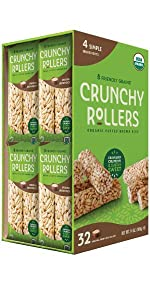 Friendly Grains Crunchy Rollers Original 32 ct. Allergen Friendly puffed brown rice snacks.