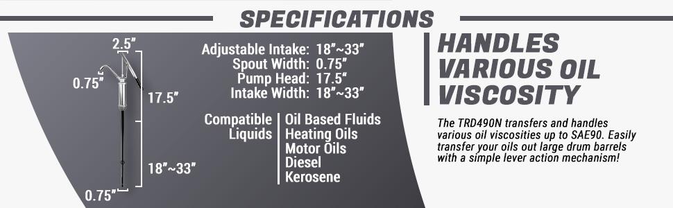 tera pump trd490n - specifications