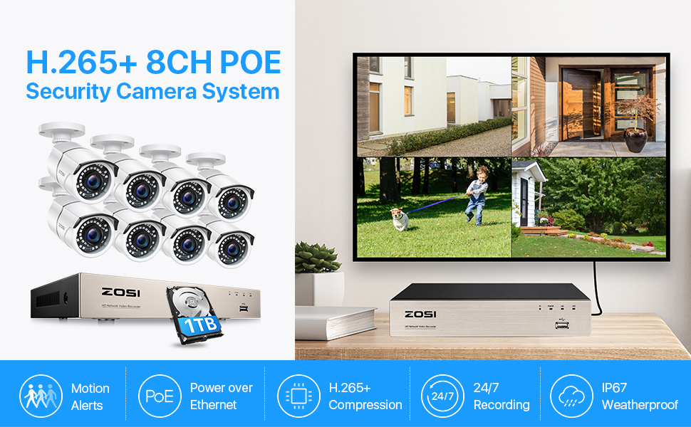 8EN-2612W8S-10 1080P 8CH PoE security cameras system with 1TB HDD