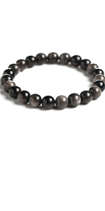 Silver Obsidian bead