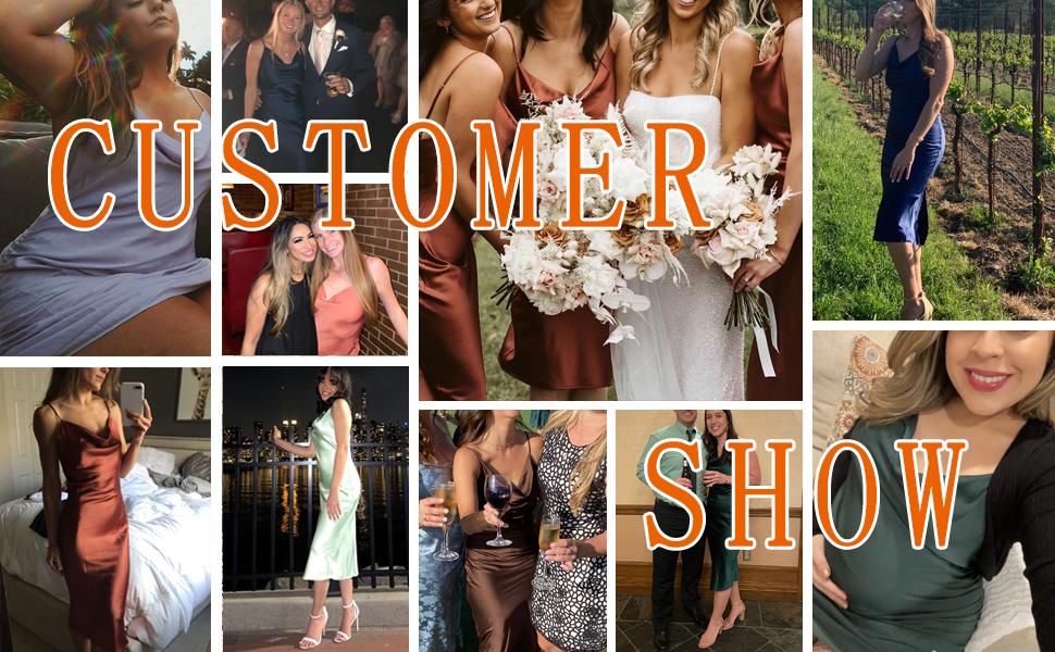 UIMLK Bodycon Slip Wedding Guest Dress with Slit