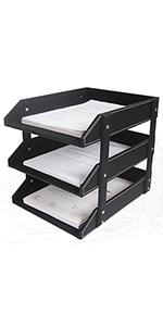 KINGFOM Letter Tray, Paper Organizer  Stackable Magazine Holder Tray