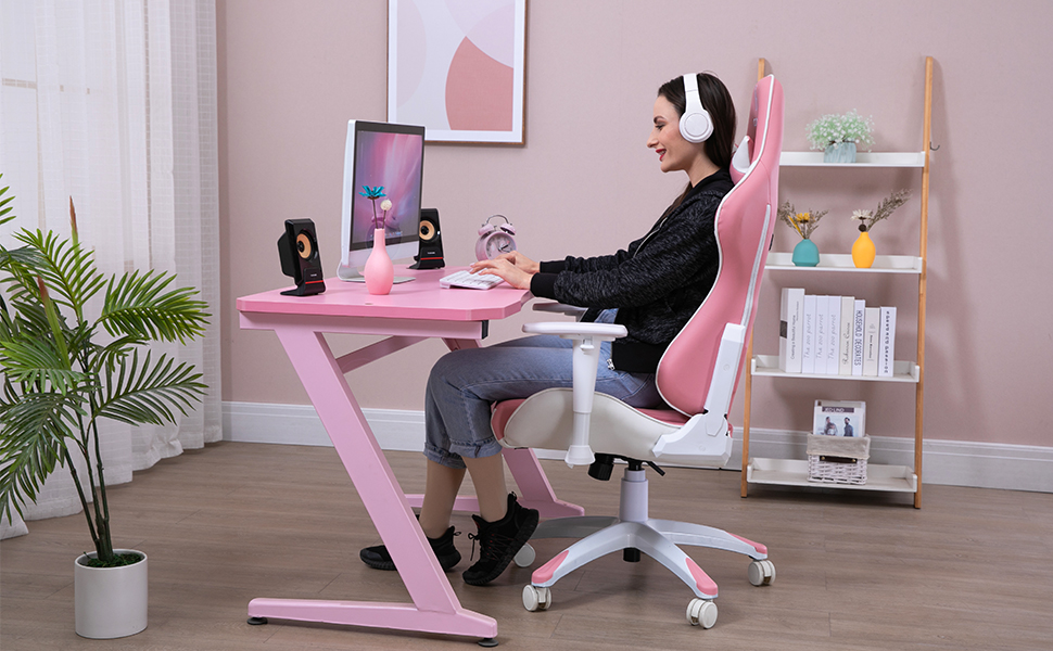 pink chair woman