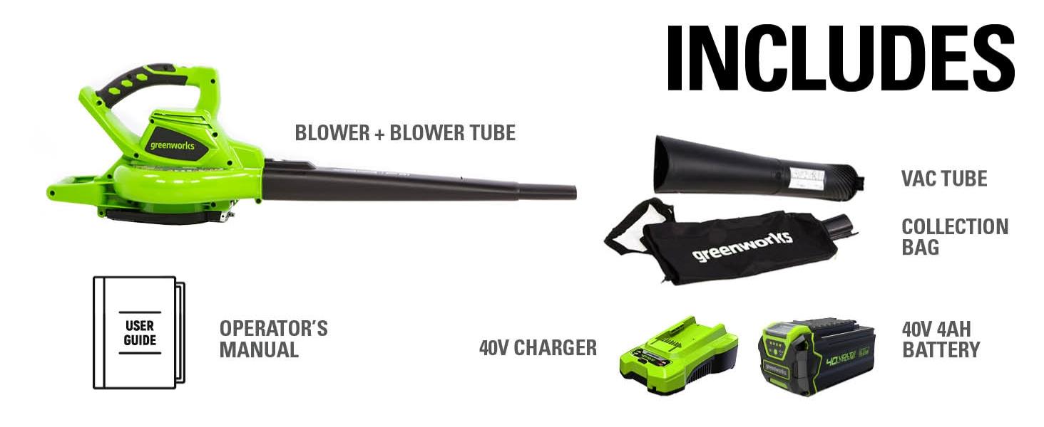 Blower tube, 4AH BATTERY, 40V Charger