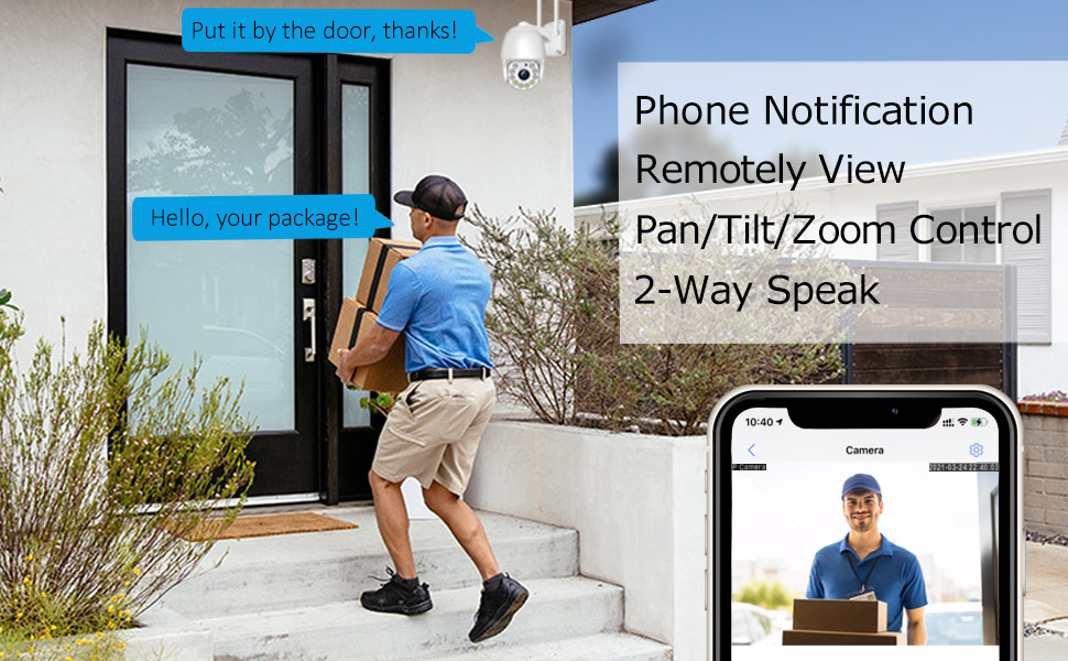 Home Security camera with two way audio, remote view
