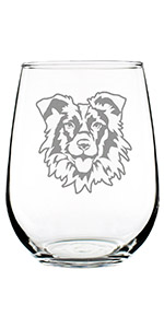 Adorable design of a happy Border Collie face, engraved on a stemless wine glass