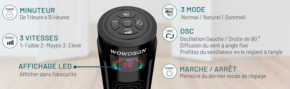 Ventilateur Colonne Silencieux WOWDSGN Ventilateur Tour Oscillant 90° avec Télécommande