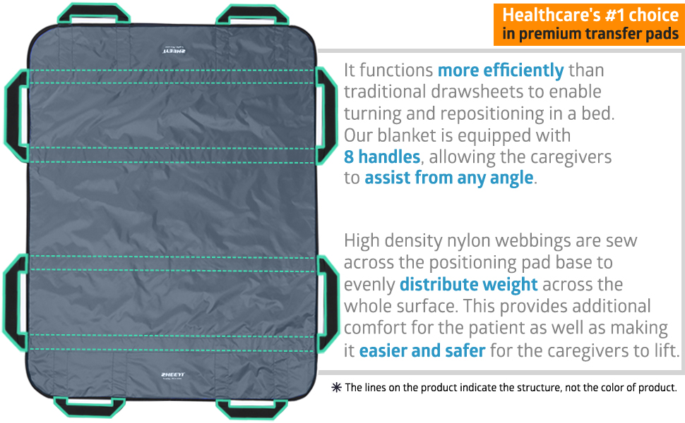 Patient transfer sheet positioning bed pad blanket with handles lifting