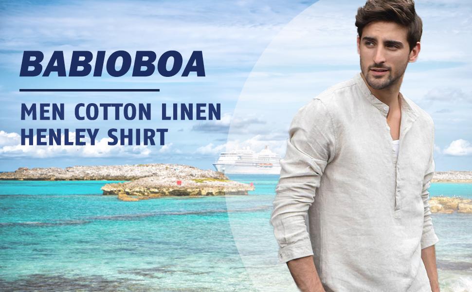 Babioboa Mens Long Sleeve Linen Cotton Shirts Casual Summer Beach Yoga Henleys