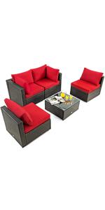 5-Piece Patio Furniture Set Outdoor Rattan Wicker Sofa Set