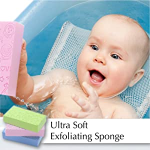 Bath Sponge, Skin Exfoliator, Face Scrubber and Dead Skin Remover for Women and Men